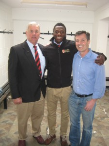 Trinity's manager John Young, David and new Connacht Rugby signing Niyi Adeolukun.  Watch out for this exciting young talent in the green jersey next season!
